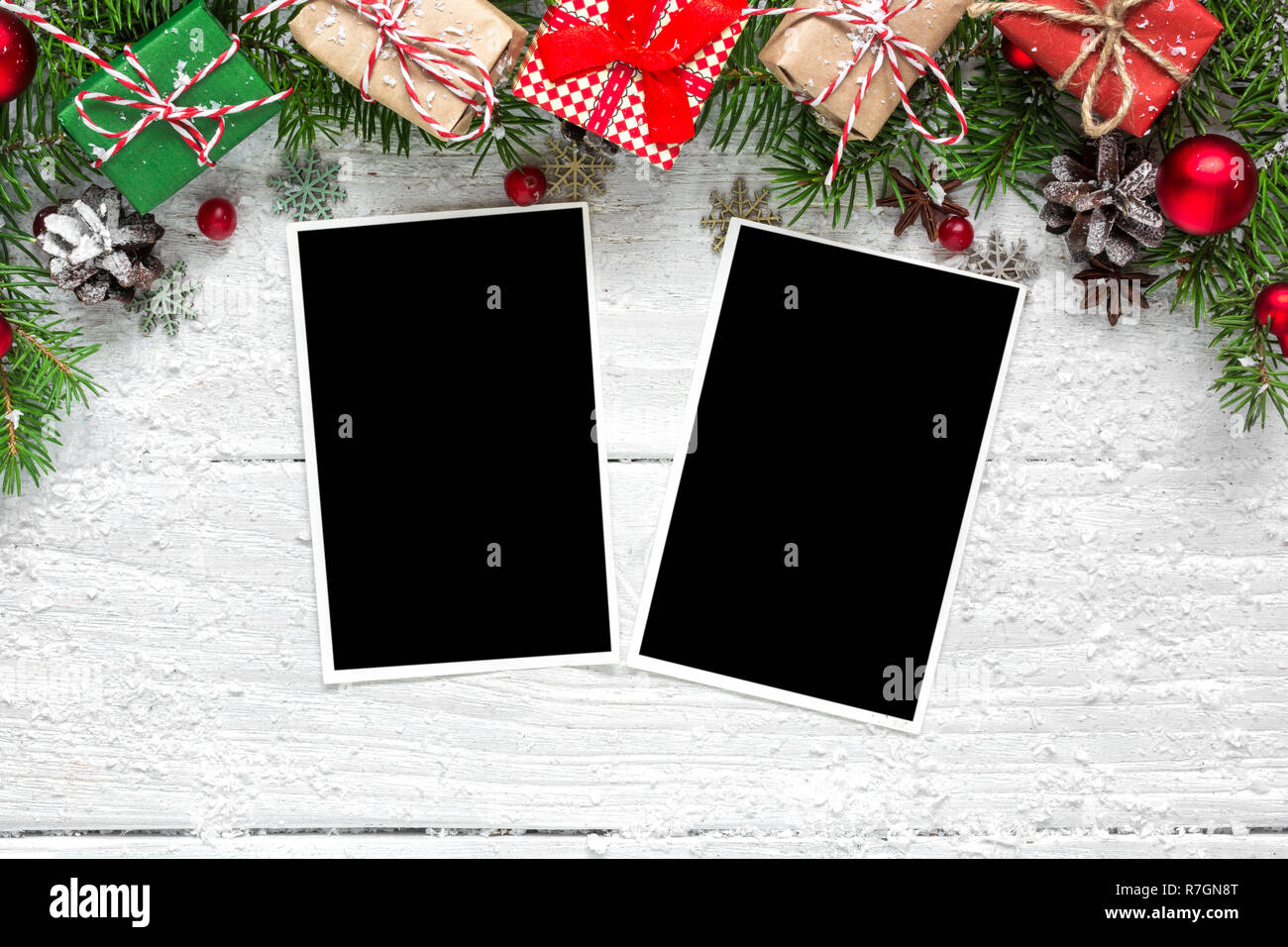 Christmas Blank Photo Frames With Fir Tree Branches Decorations And