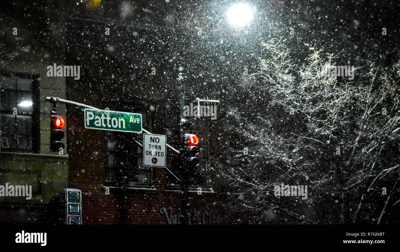 Patton Ave. Asheville NC during Winter Storm Diego Landscape - Stock Image