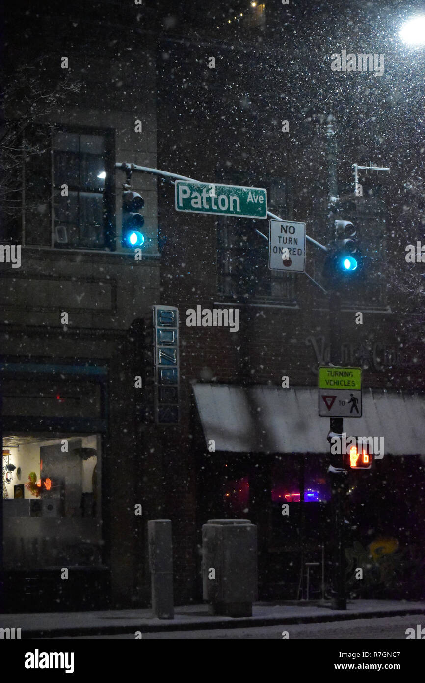 Patton Ave. Asheville NC during Winter Storm Diego - Stock Image