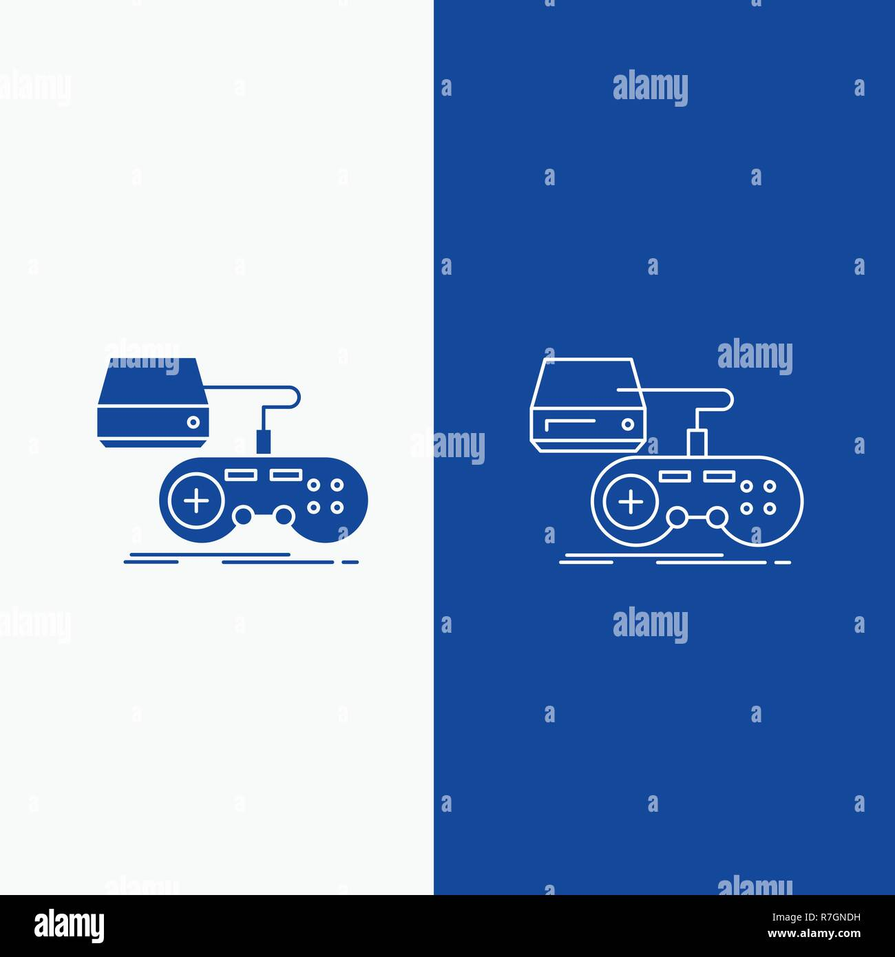 Console Game Gaming Playstation Play Line And Glyph Web Button In Blue Color Vertical Banner For Ui And Ux Website Or Mobile Application Stock Vector Image Art Alamy