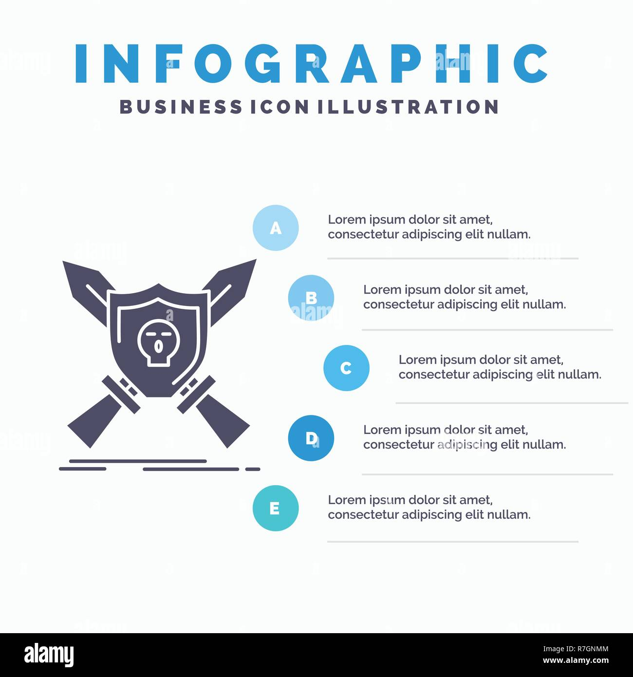 Badge Emblem Game Shield Swords Infographics Template For Website And Presentation GLyph Gray Icon With Blue Infographic Style Vector Illustratio
