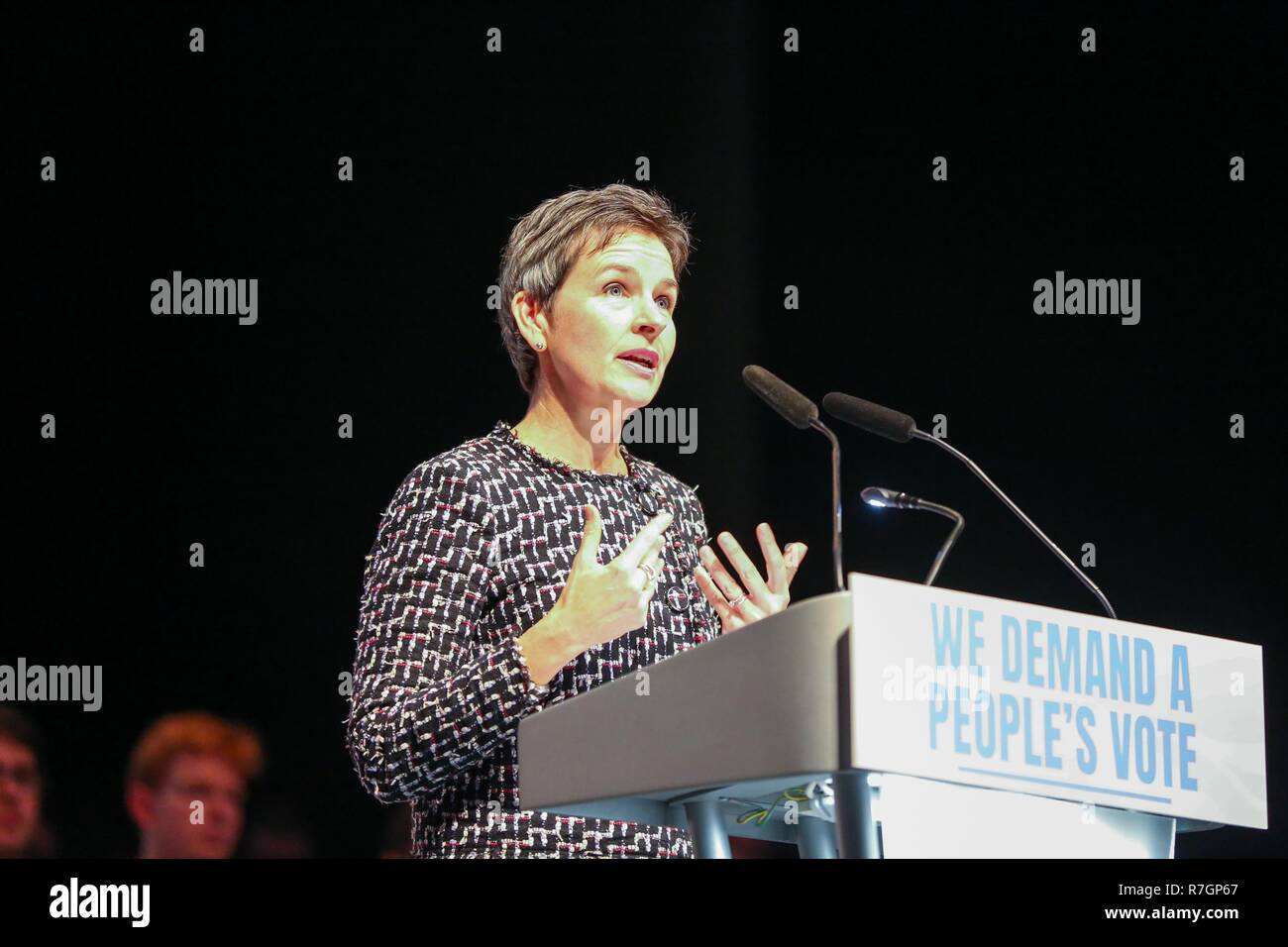 MP Mary Creagh is seen speaking during the rally. Hundreds of people attend the Best for Britain and the People's Vote campaign's rally at Excel Centre in East London on the eve of the week in which Parliament will vote on Prime Minister Theresa May's Brexit withdrawal deal. Stock Photo