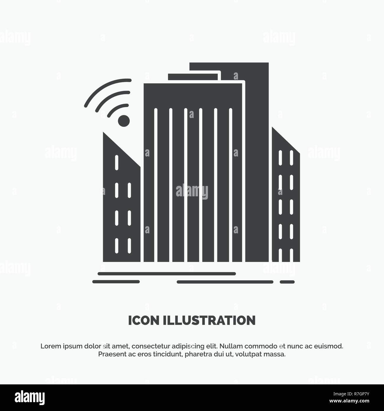 Buildings, city, sensor, smart, urban Icon. glyph vector gray symbol for UI and UX, website or mobile application - Stock Vector