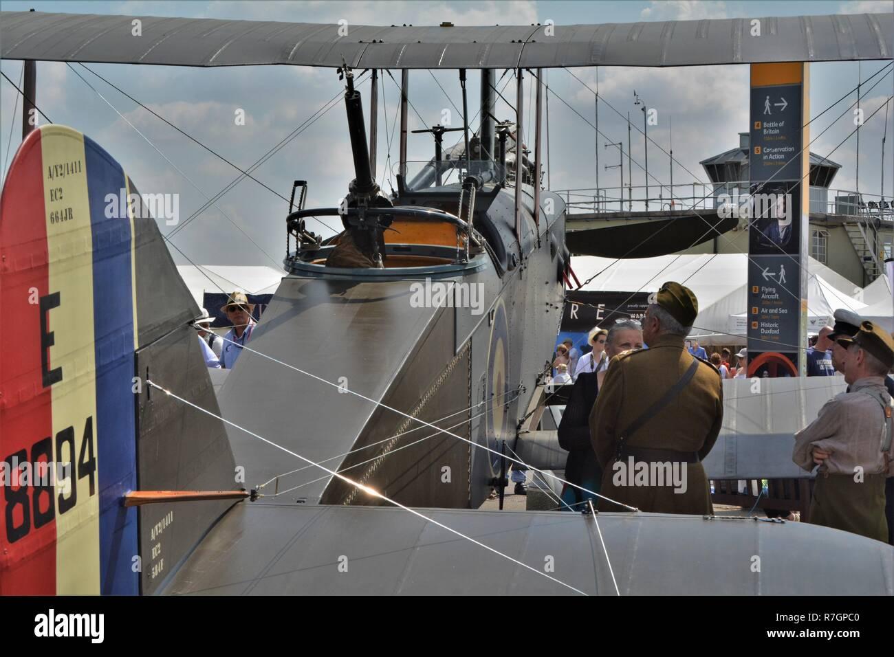 Airco DH 9 first world war bi plane airplane, static display. - Stock Image