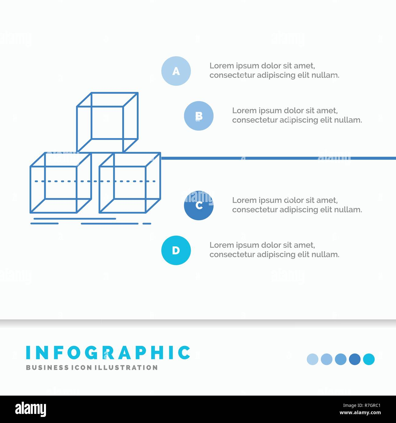 Arrange Design Stack 3d Box Infographics Template For Website