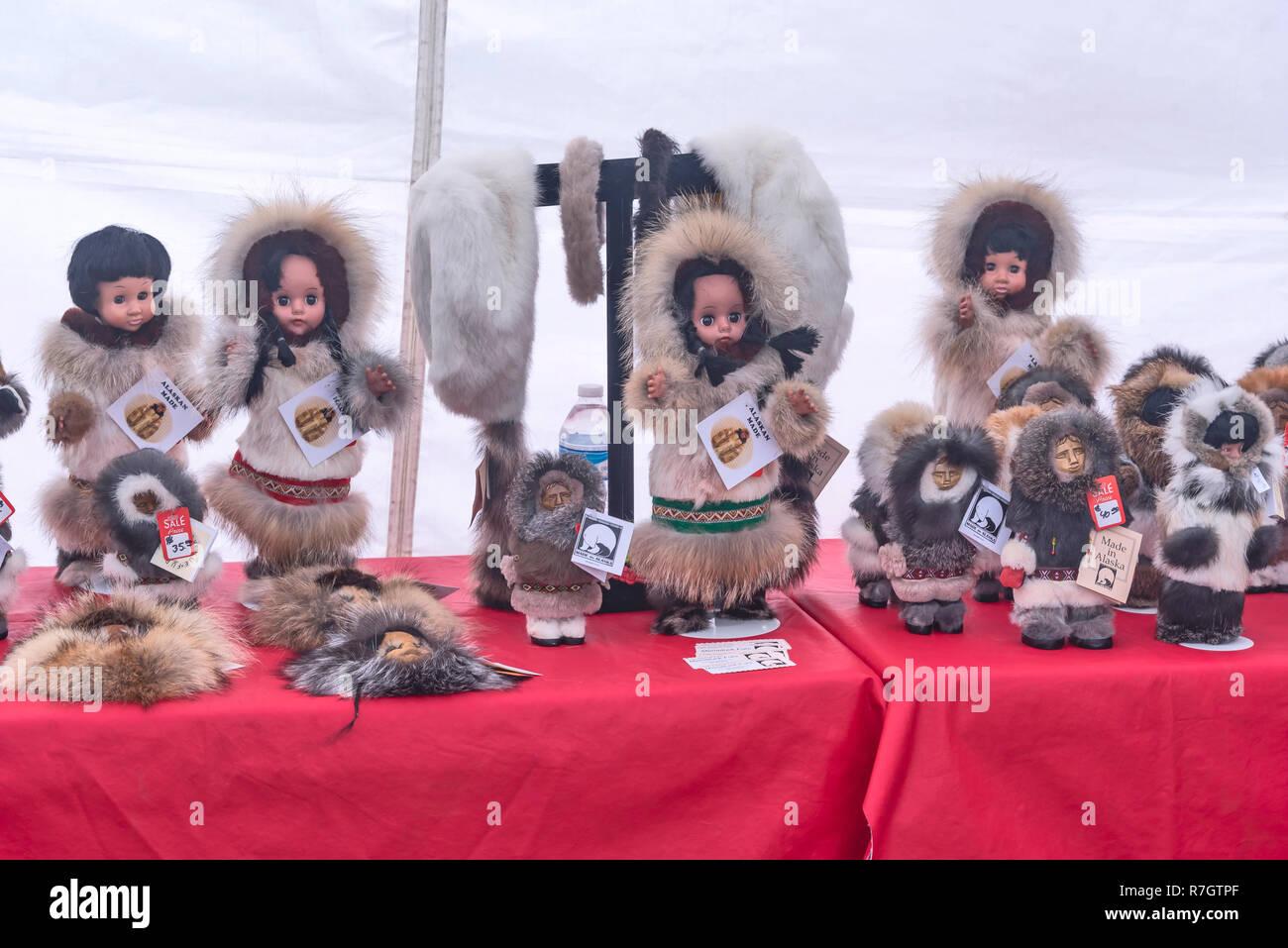 Works of folk art on the shelves of the fair, Anchorage Fair and Festival, Alaska, USA - Stock Image