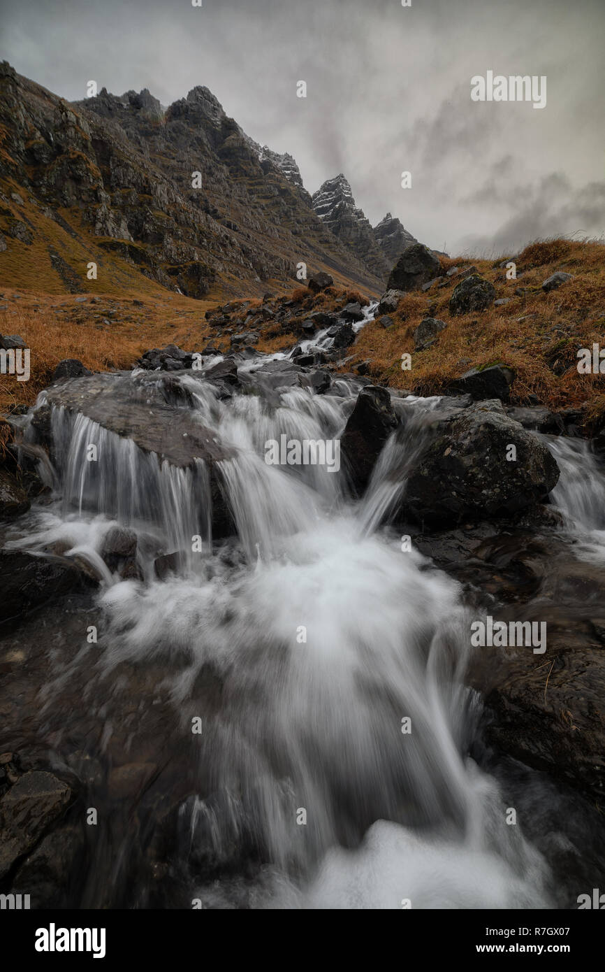 Unknown waterfall next to Nupur in east fjords, Iceland - Stock Image