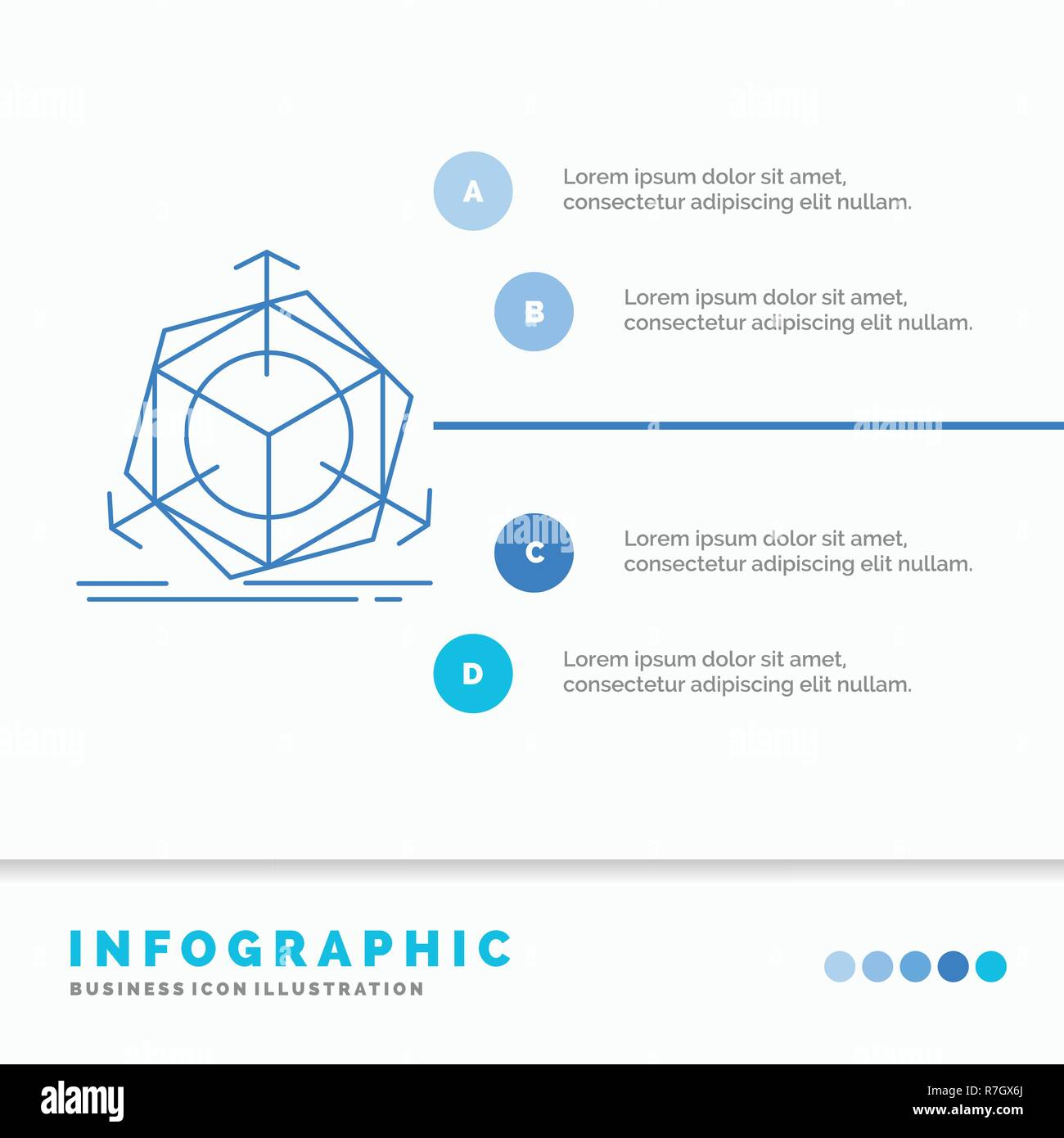 3d, change, correction, modification, object Infographics Template for Website and Presentation. Line Blue icon infographic style vector illustration Stock Vector