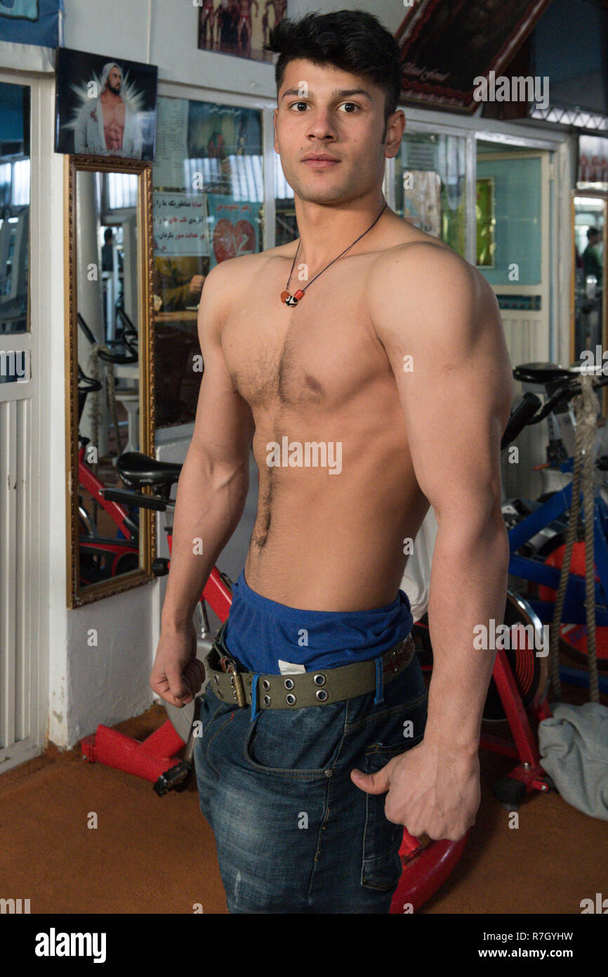 Young Man Exercising in Local Sports Club, Kabul, Kabul Province, Afghanistan - Stock Image