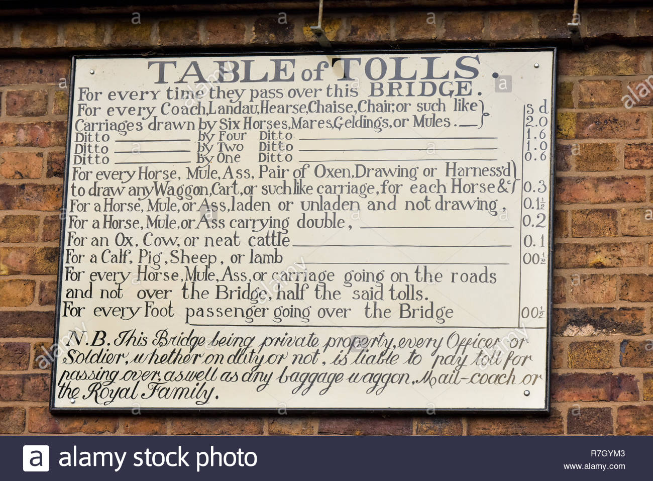 The Table of Tolls sign on the Toll House for the Iron Bridge in Ironbridge, Shropshire, England, UK - Stock Image