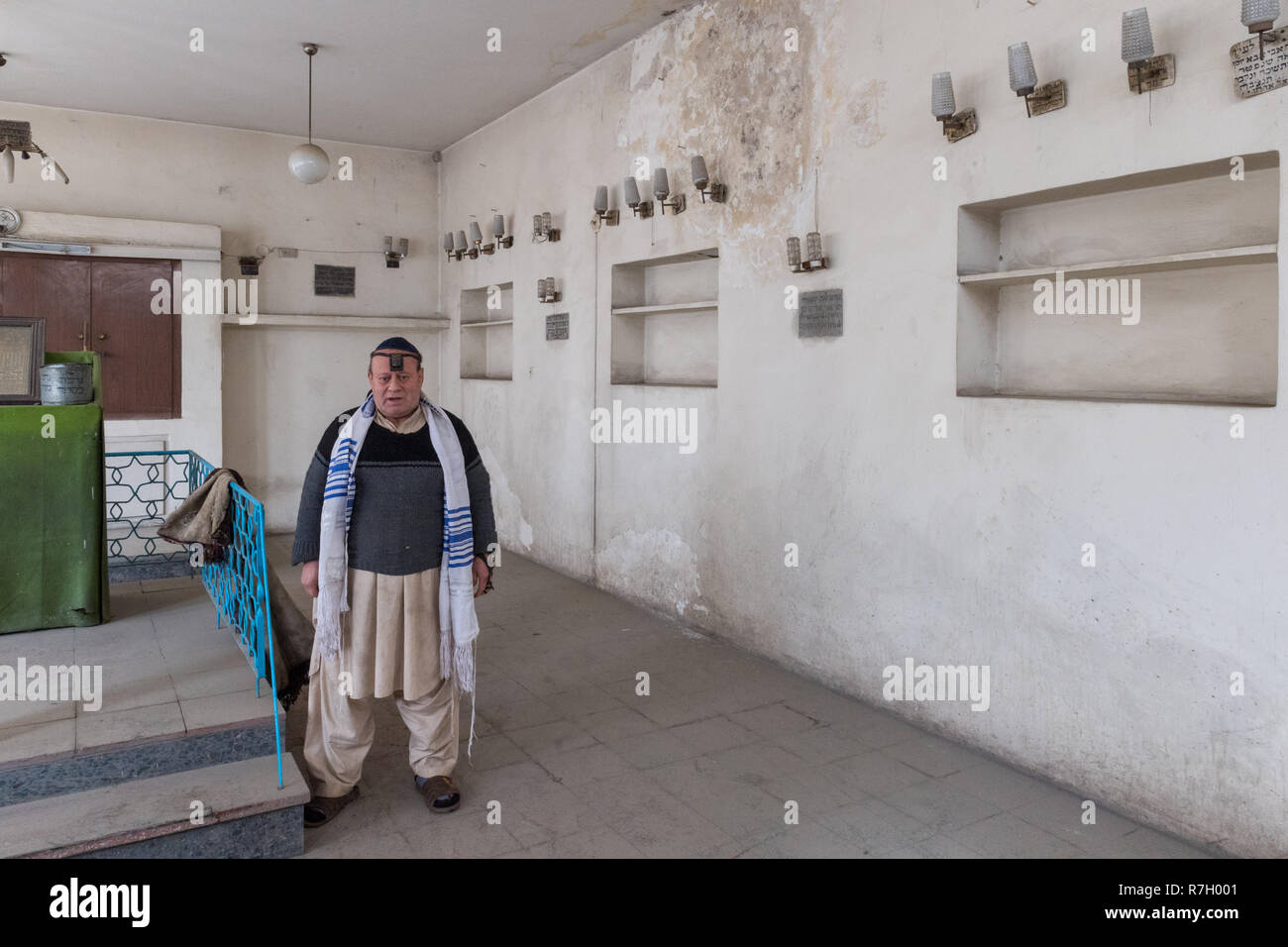 Zablon Simintov is believed to be the last remaining Jew in Afghanistan. He is also the caretaker of the only synagogue in Kabul, Afghanistan. - Stock Image