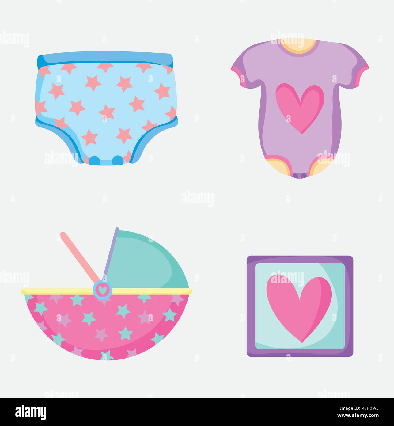 set baby diapper with pijama and picture things Stock Vector
