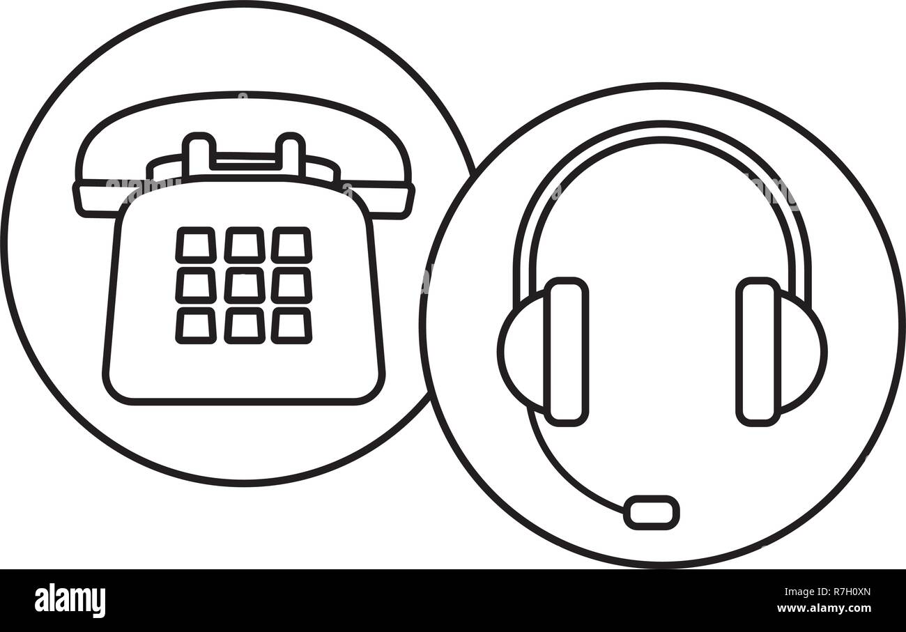Drawing Phone Headset High Resolution Stock Photography And Images Alamy