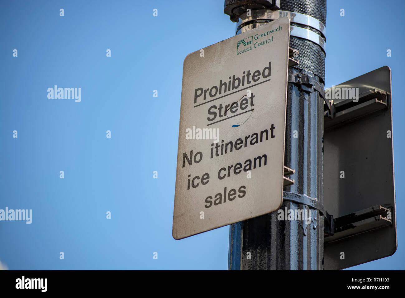Prohibited Ice Cream Vendor Sign - Stock Image
