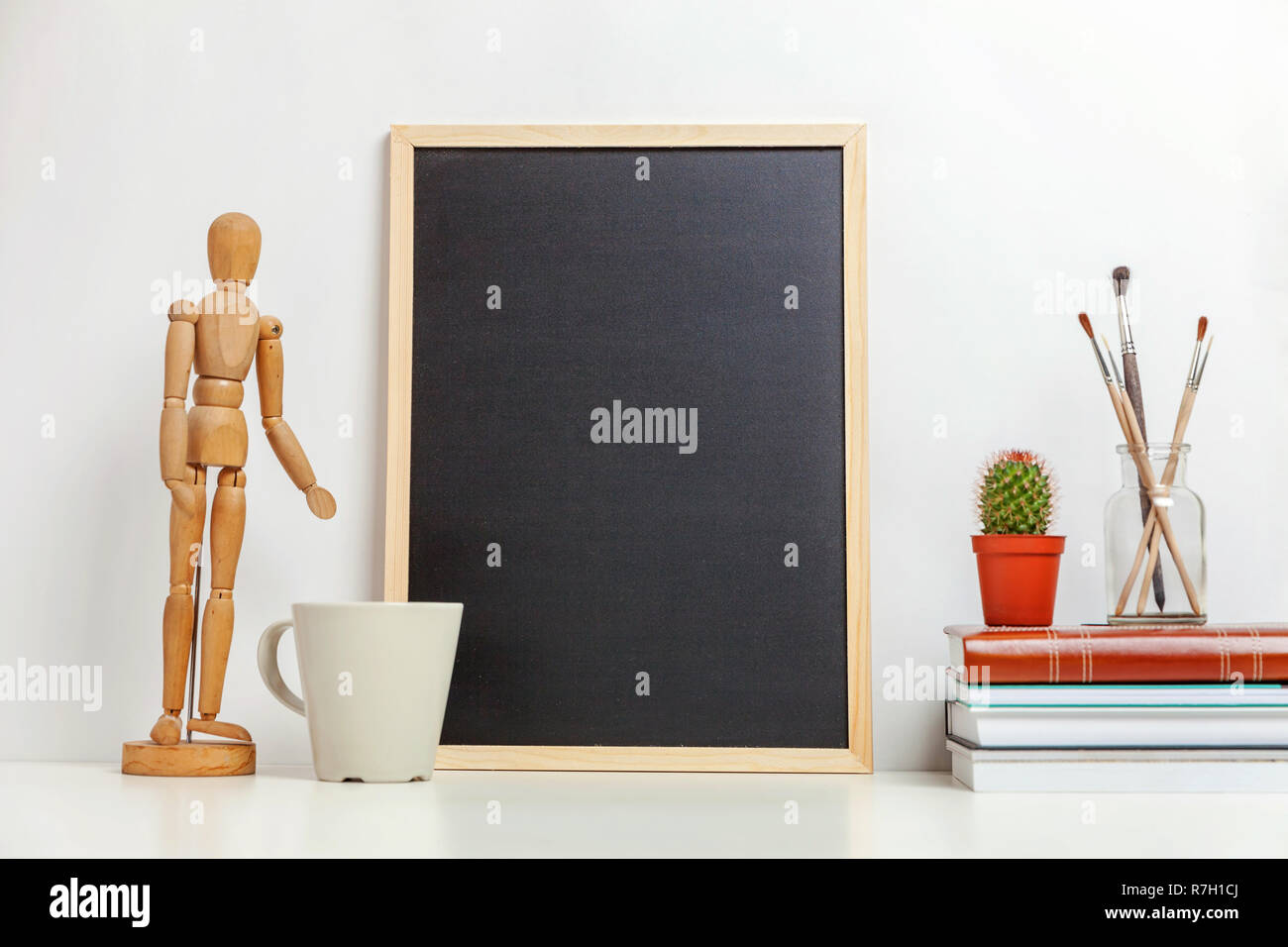 Home Or Office Decor With Mock Up Blank Chalkboard On Table Near White Wall Minimalism Interior Workplace Artist Supplies Decoration Background Hygg