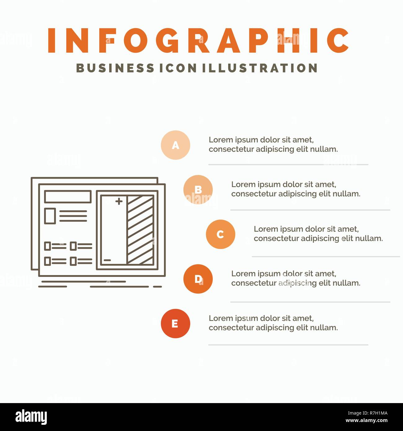 Blueprint design drawing plan prototype infographics template for website and presentation