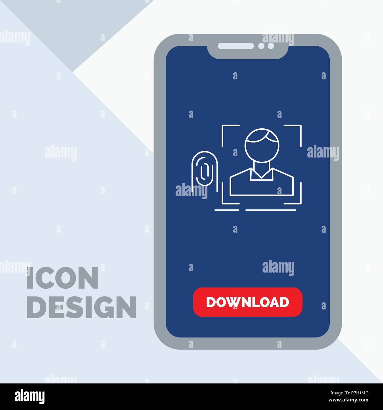 finger, fingerprint, recognition, scan, scanning Line Icon in Mobile