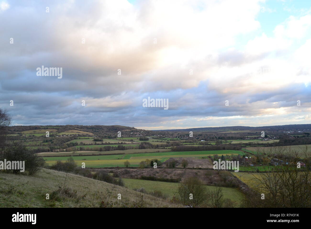 Polhill Bank is an SSSI chalk grassland area in Kent, England managed by Kent Wildlife Trust. A dull day in December but still a lovely view - Stock Image