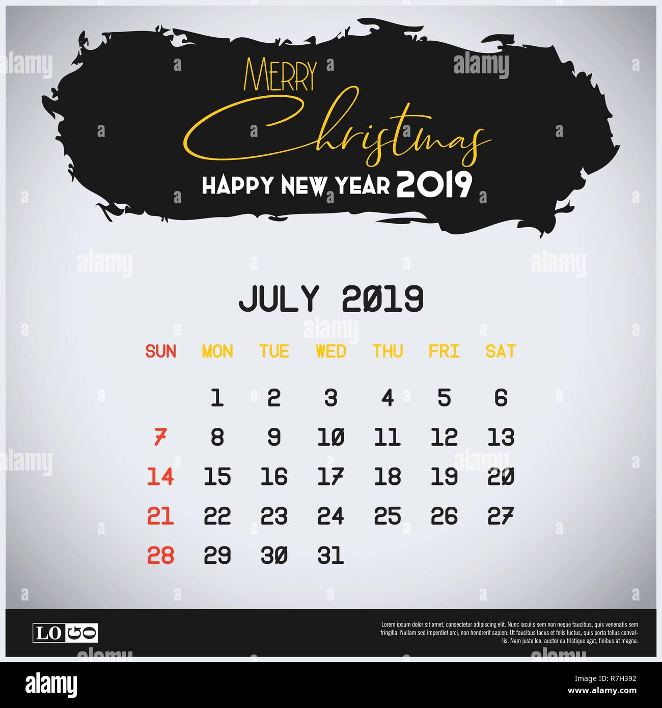 Calendario Julio 2019 Vector.July 2019 New Year Calendar Template Brush Stroke Header
