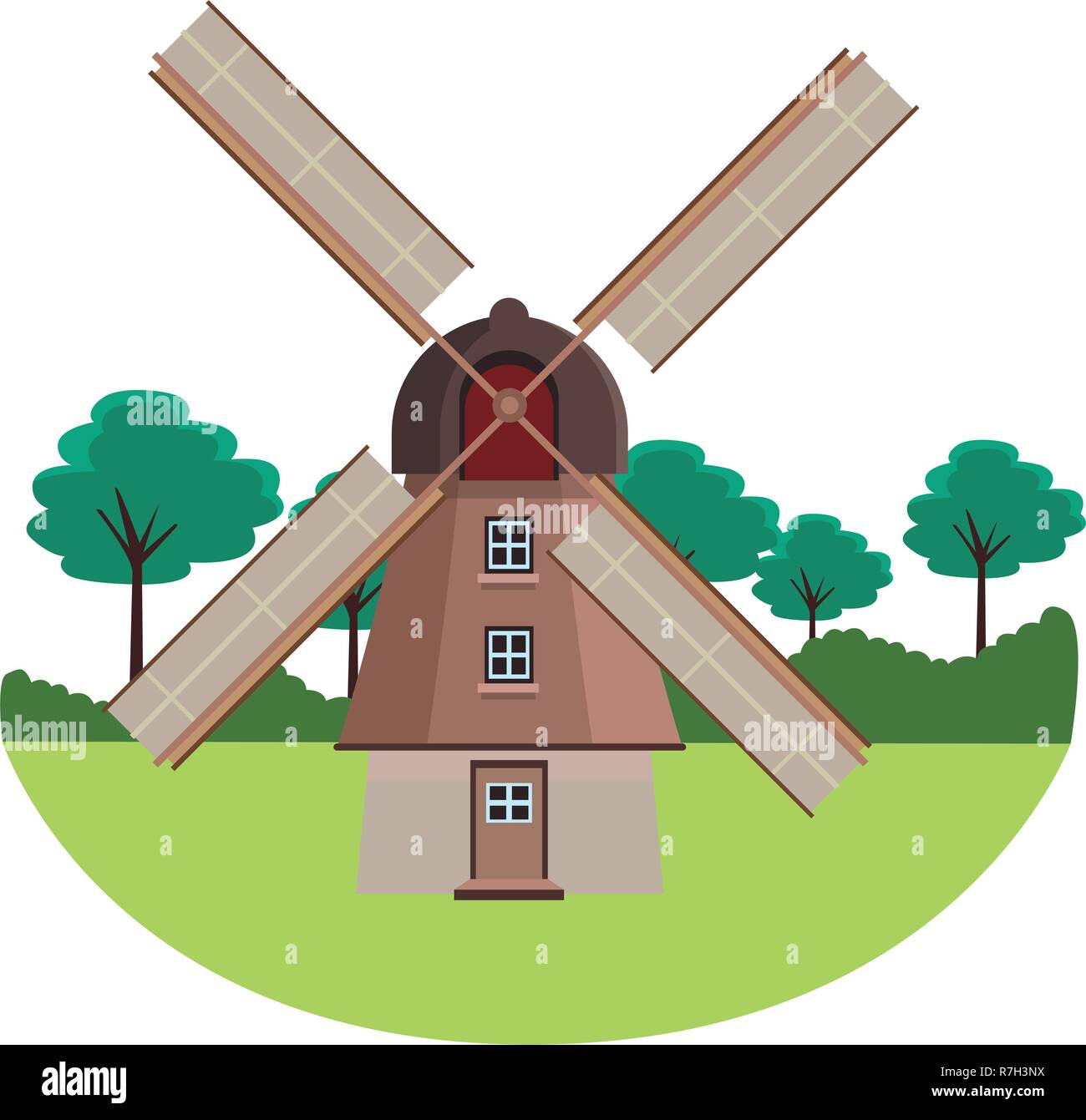 dutch mills monuments - Stock Image