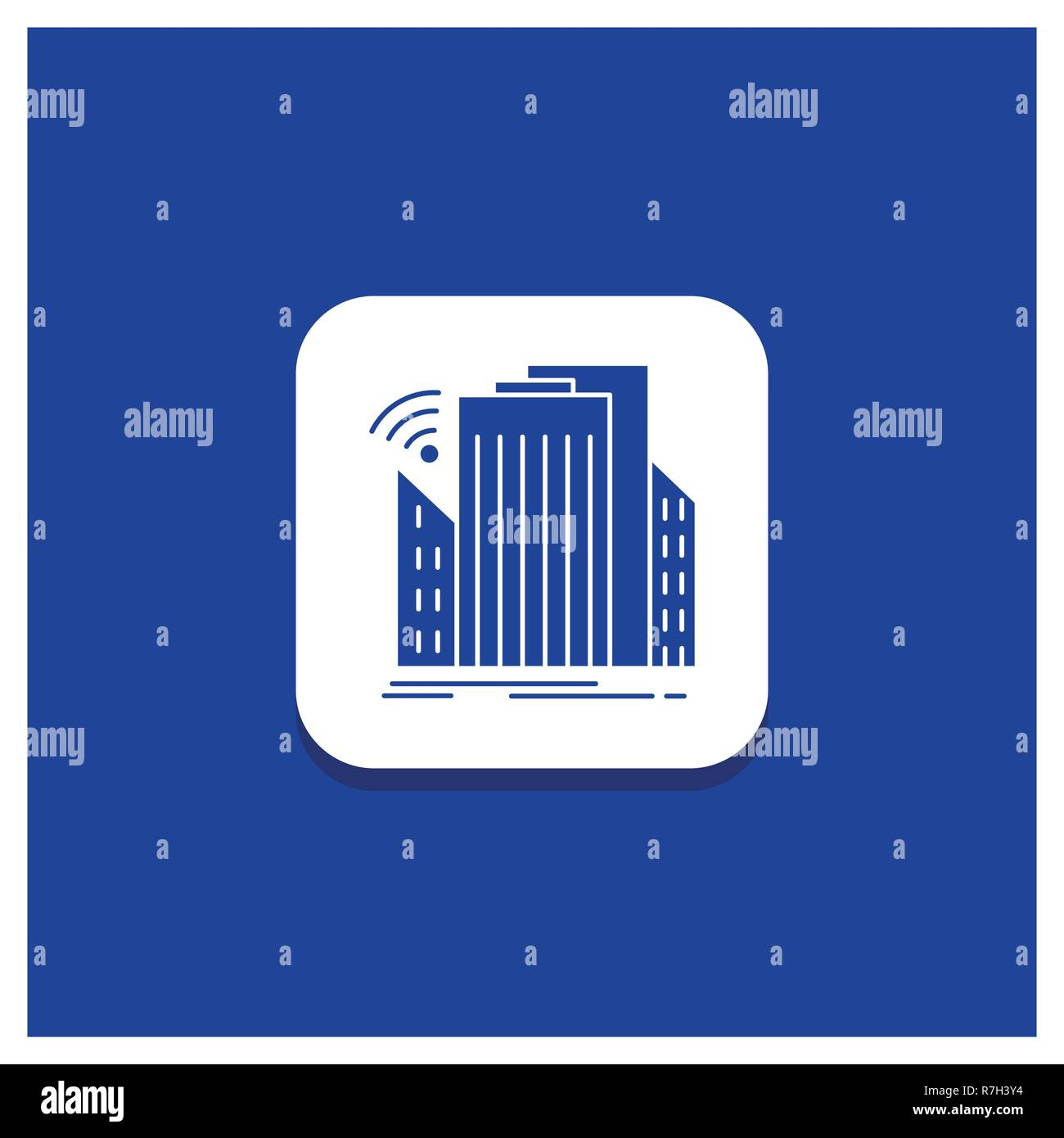 Blue Round Button for Buildings, city, sensor, smart, urban Glyph icon - Stock Vector