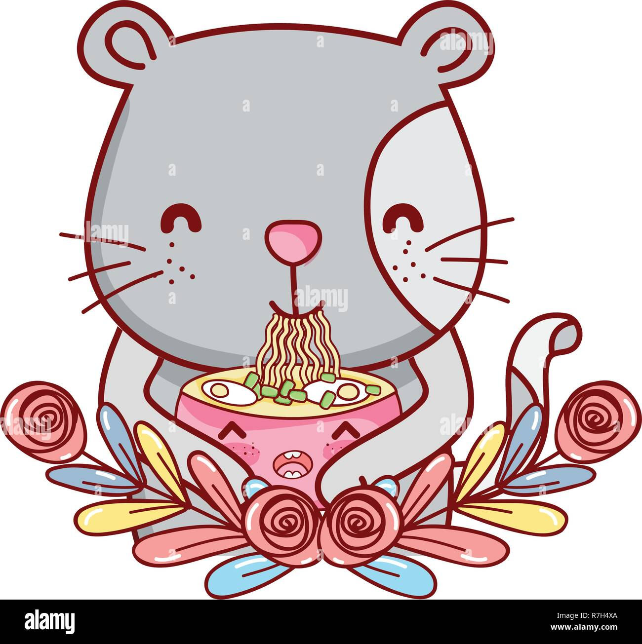 Cat with noodles kawaii - Stock Vector