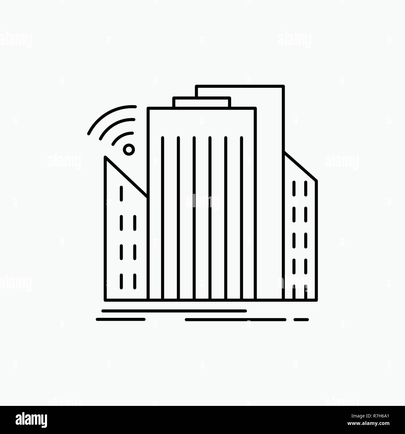 Buildings, city, sensor, smart, urban Line Icon. Vector isolated illustration - Stock Vector