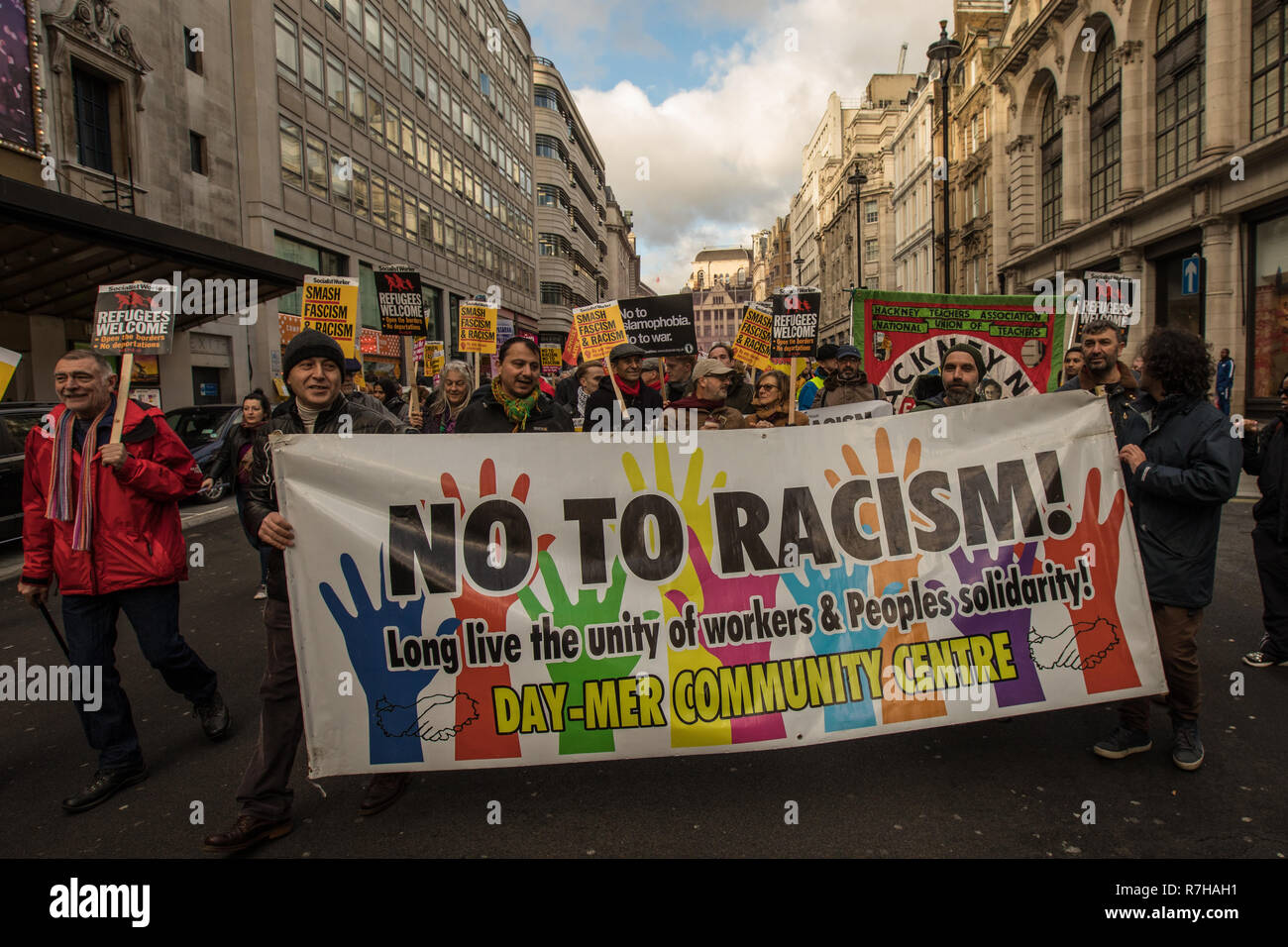 London, UK. 9th Dec, 2018. Thousands marched in a anti-racist counter demonstration against the far right organised 'Brexit betrayal' march in central London and heavily outnumbered the racist UKIP led march. Credit: David Rowe/Alamy Live News - Stock Image
