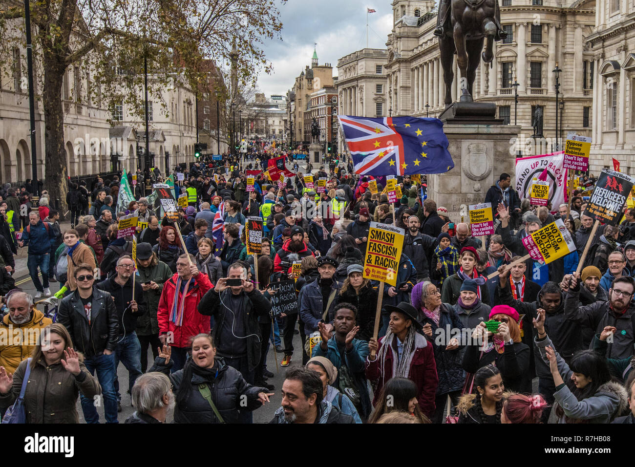 London, UK. 9th Dec, 2018. Thousands marched in a anti-racist counter demonstration against the far right organised 'Brexit betrayal' march in central London and heavily outnumbered the racist UKIP led march. Credit: David Rowe/Alamy Live News Stock Photo