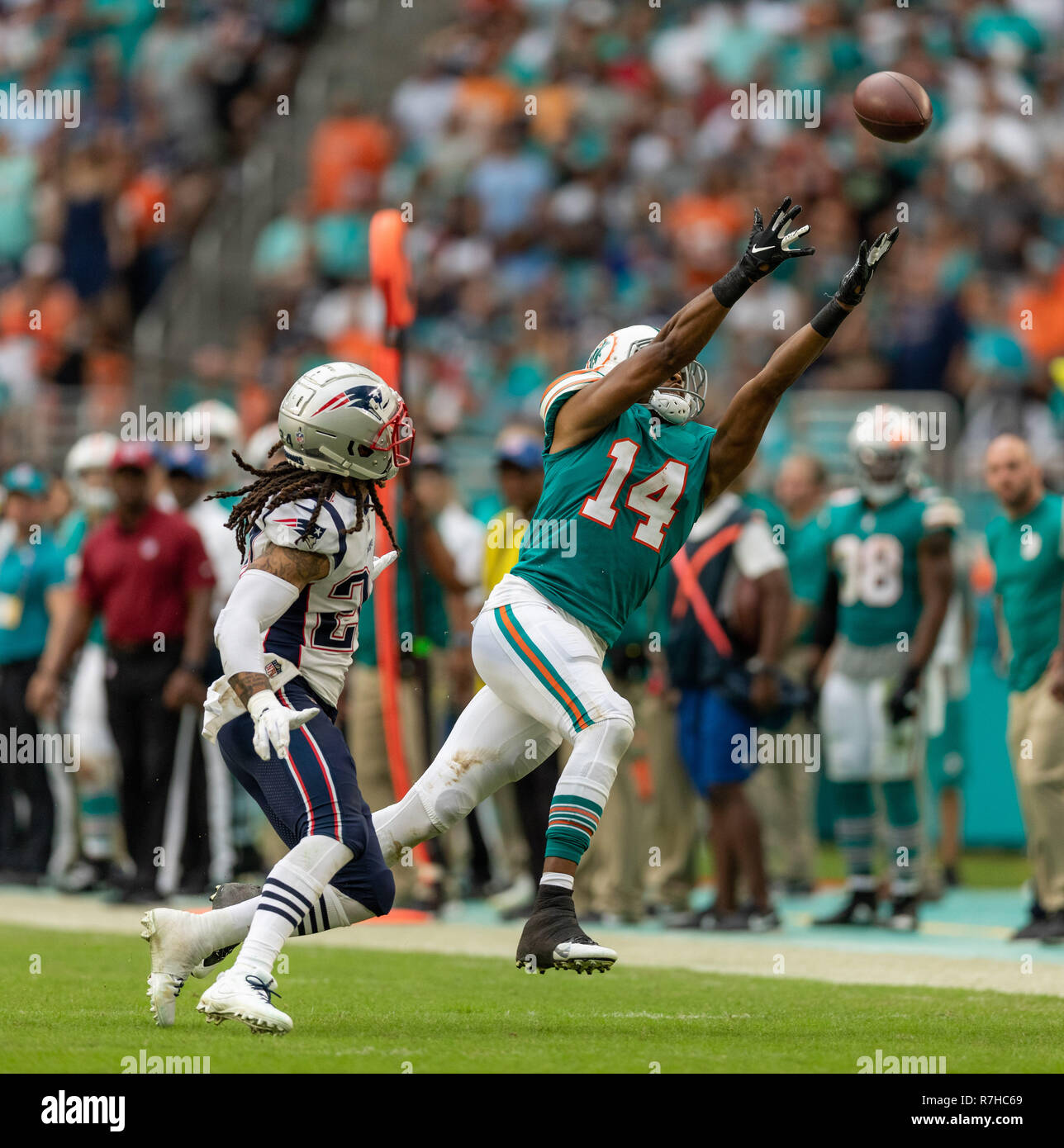 Miami Dolphins News Wire | December 9 2018 Miami Dolphins 14 Brice Butler Reaches For A