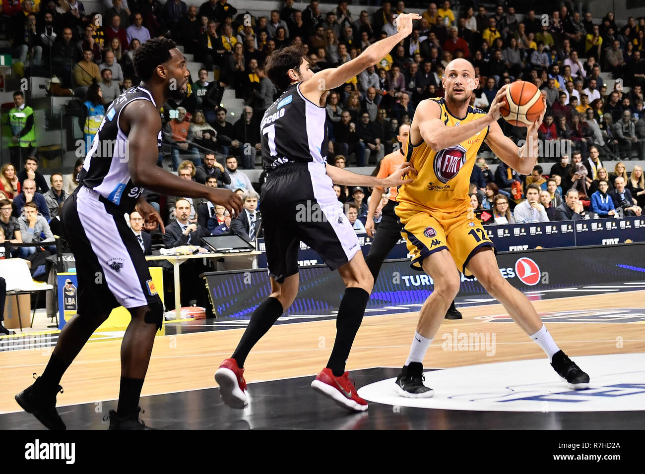 Turin, Italy. 8th Dec 2018. Marco Cusin (Auxilium Fiat Torino) during the LEGA BASKET SERIE A 2018/19 basketball match between FIAT AUXILIUM TORINO vs DOLOMITI TRENTO at PalaVela on 8th Dicember, 2018 in Turin, Italy. Credit: FABIO PETROSINO/Alamy Live News - Stock Image