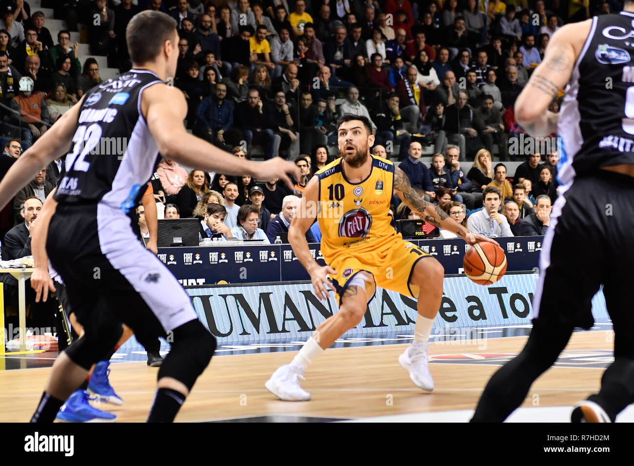 Turin, Italy. 8th Dec 2018. Carlos Delfino (Auxilium Fiat Torino) during the LEGA BASKET SERIE A 2018/19 basketball match between FIAT AUXILIUM TORINO vs DOLOMITI TRENTO at PalaVela on 8th Dicember, 2018 in Turin, Italy. Credit: FABIO PETROSINO/Alamy Live News - Stock Image
