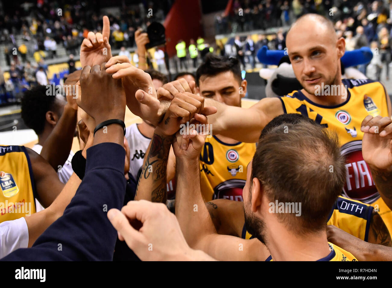 Turin, Italy. 8th Dec 2018. During the LEGA BASKET SERIE A 2018/19 basketball match between FIAT AUXILIUM TORINO vs DOLOMITI TRENTO at PalaVela on 8th Dicember, 2018 in Turin, Italy. Credit: FABIO PETROSINO/Alamy Live News - Stock Image