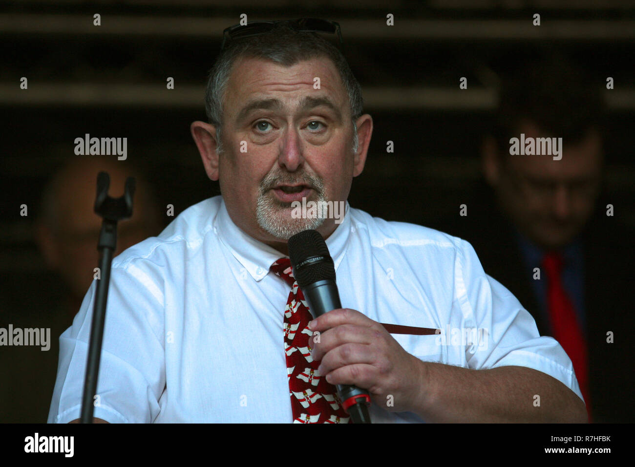 Robert Hill Ukip Spokesman for Northern Ireland in London, UK. 09th Dec, 2018. Speaking with Gerard Batten and Tommy Robinson as they together on the Brexit Betrayed Rally organised by UKIP in London Credit: Rupert Rivett/Alamy Live News - Stock Image