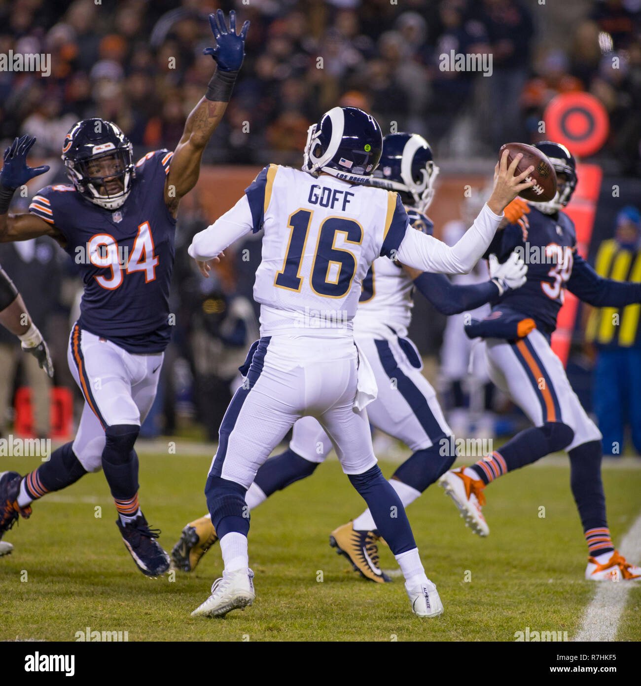 0d5e0025f45 Bears #94 Leonard Floyd puts pressure on Rams Quarterback #16 Jared Goff  during the NFL Game between the Los Angeles Rams and Chicago Bears at ...