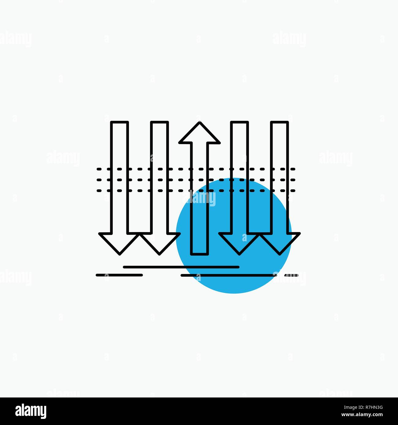 Arrow, business, distinction, forward, individuality Line Icon - Stock Image