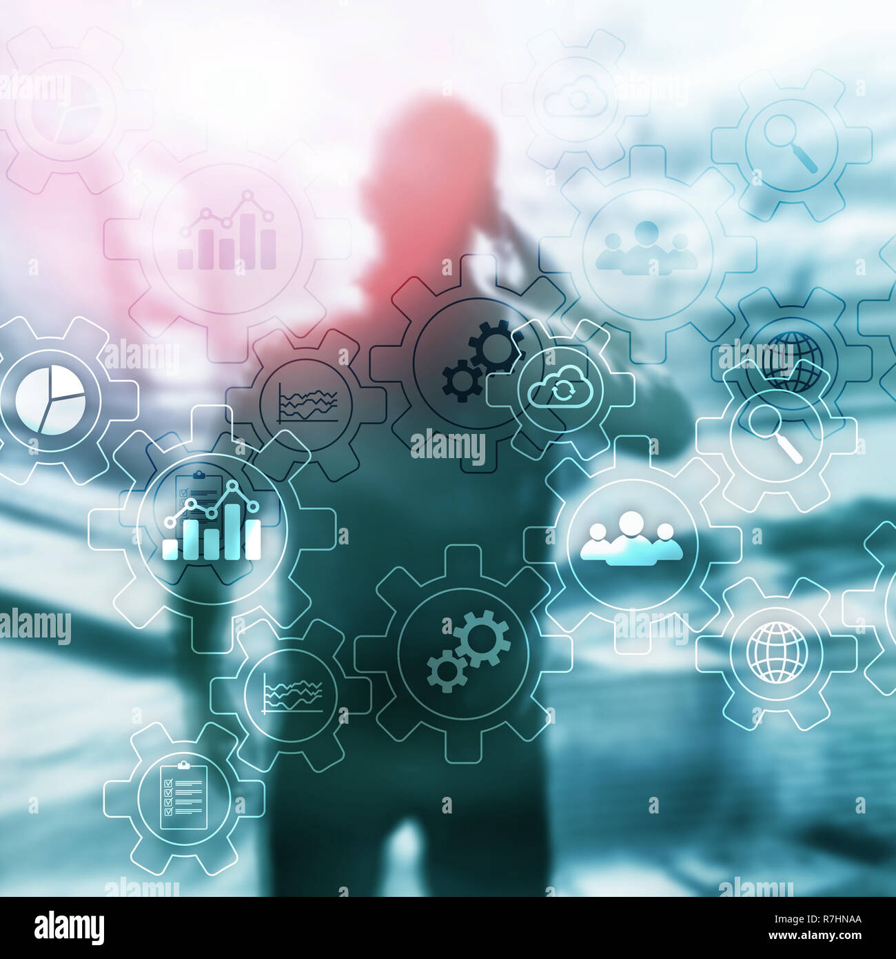 business process abstract diagram with gears and icons  workflow and  automation technology concept  man with mobile phone