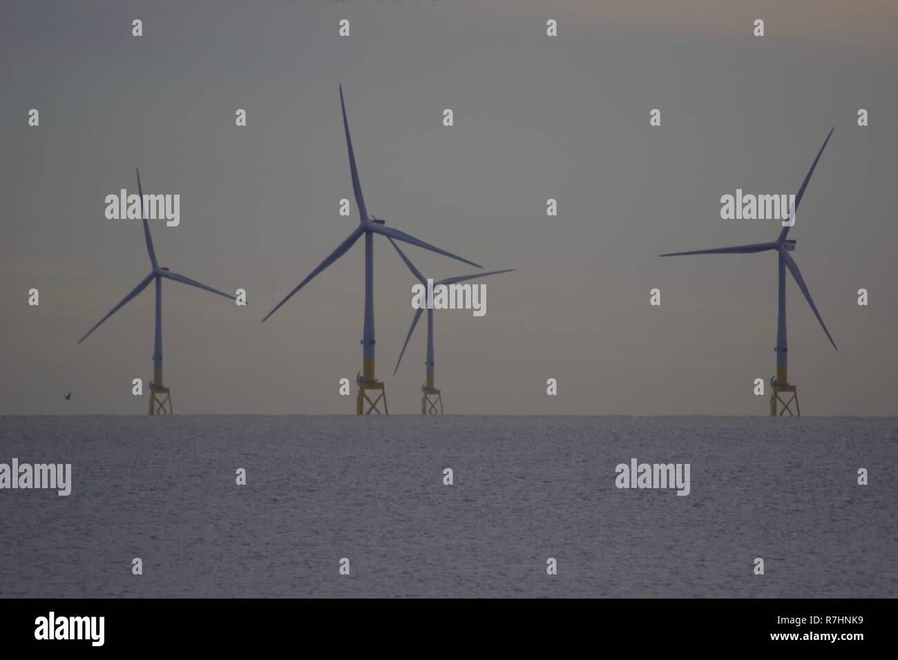 European Offshore Wind Deployment Centre. Renewable Energy Wind Farm, Offshore Aberdeen. 4 Wind Turbines in the North Sea on a Grey Day. Scotland, UK. - Stock Image