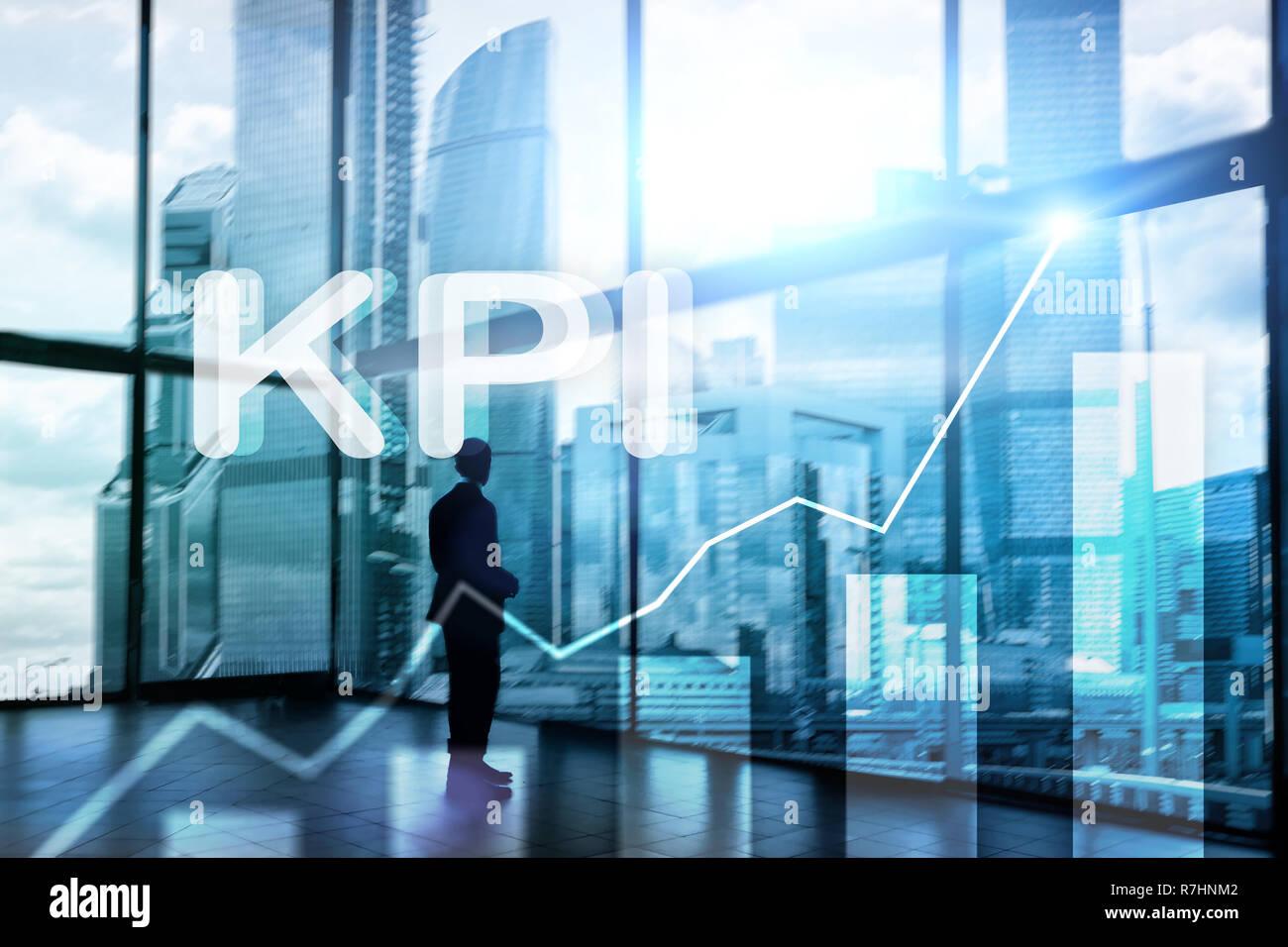 KPI - Key performance indicator graph on blurred background. Stock Photo