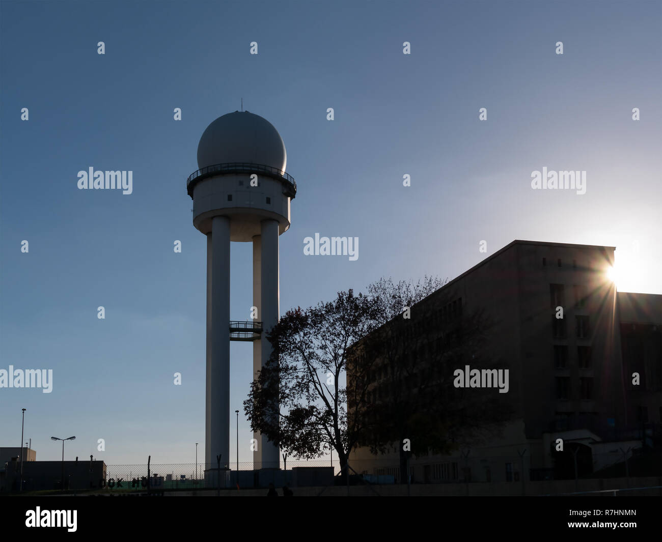 Silhouette of RRP 117 Radar Tower In Public Park Tempelhofer Feld, Former Tempelhof Airport In Berlin, Germany - Stock Image