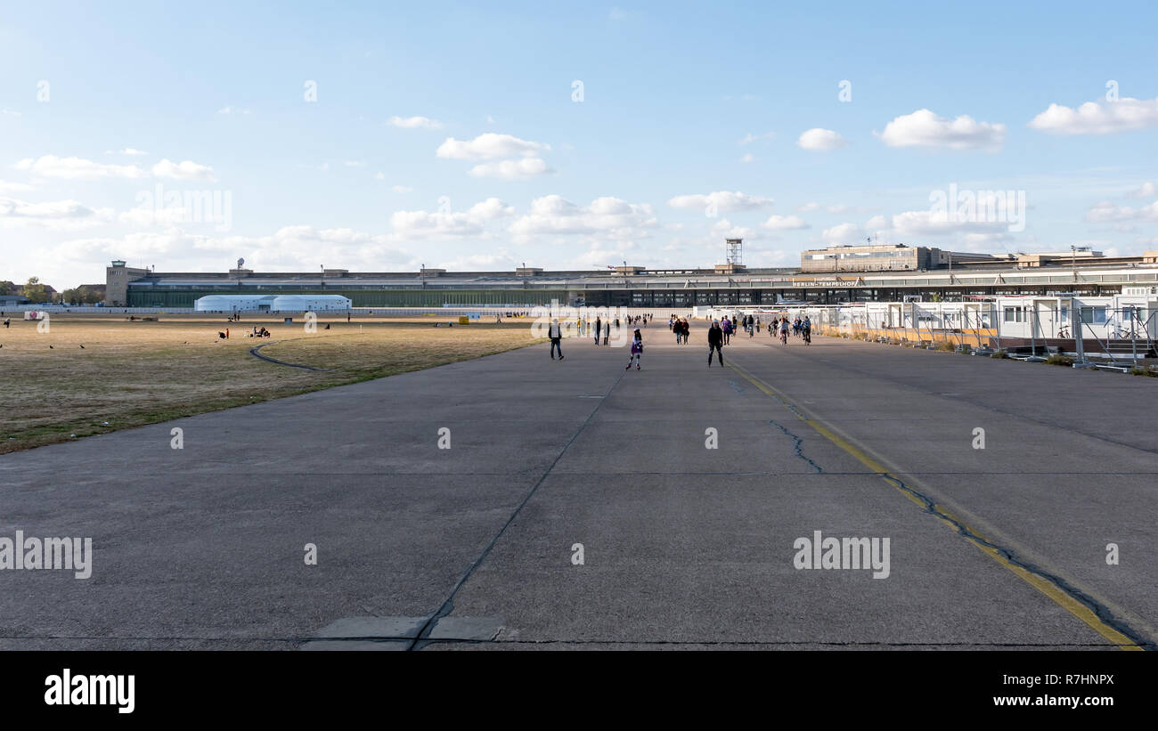 BERLIN, GERMANY - OCTOBER 21, 2018: Runway In Front of Former Terminal Buildings In Public City Park Tempelhofer Feld, Former Tempelhof Airport In Berlin, Germany - Stock Image