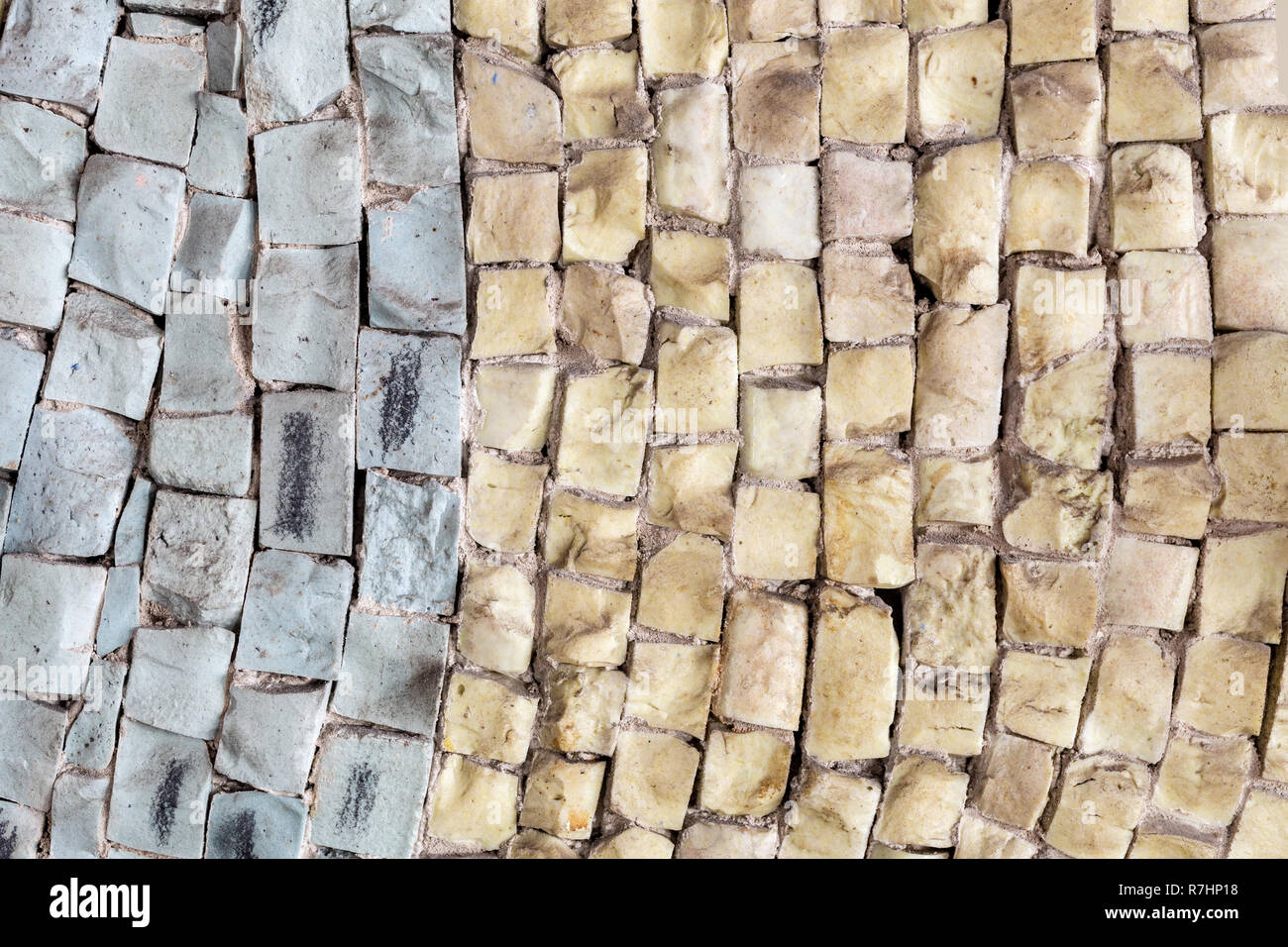 Close-up two tone old vintage marble stone mosaic. - Stock Image