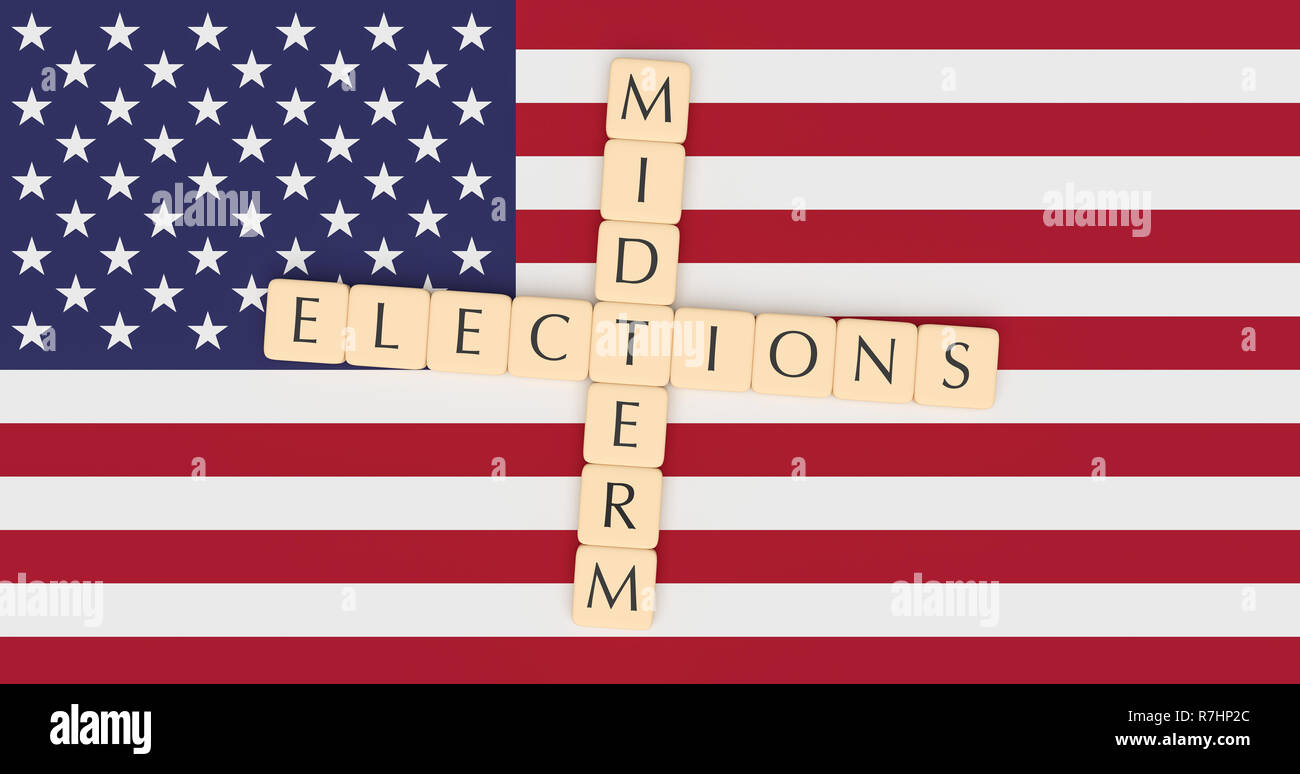 US Politics News Concept: Letter Tiles Midterm Elections On USA Flag, 3d illustration - Stock Image