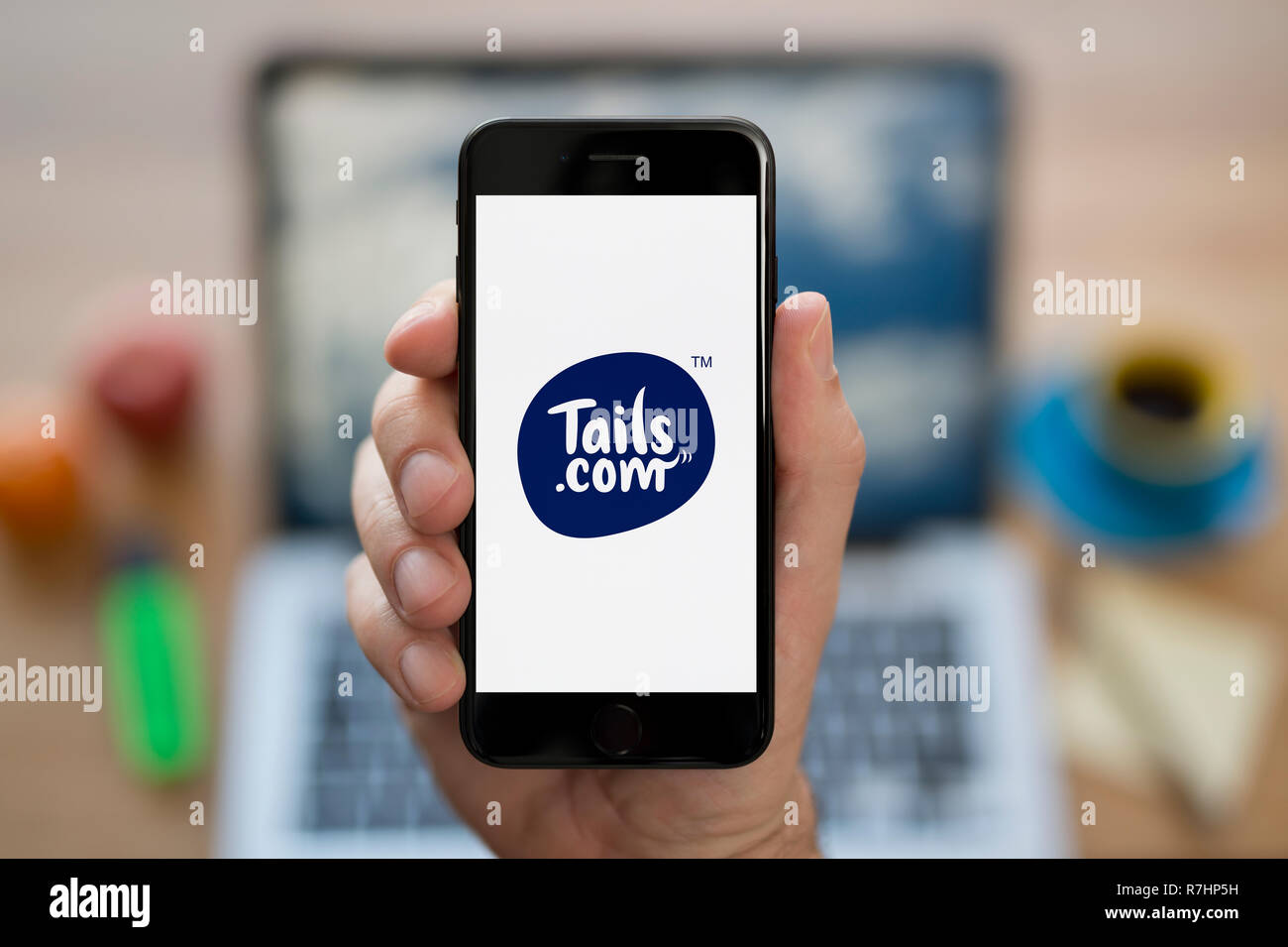 A man looks at his iPhone which displays the Tails logo (Editorial use only). - Stock Image