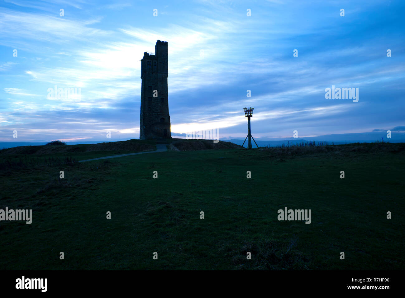The Victoria Tower and millennium beacon on Castle Hill on a frosty day overlooking Huddersfield in Kirklees, West Yorkshire - Stock Image