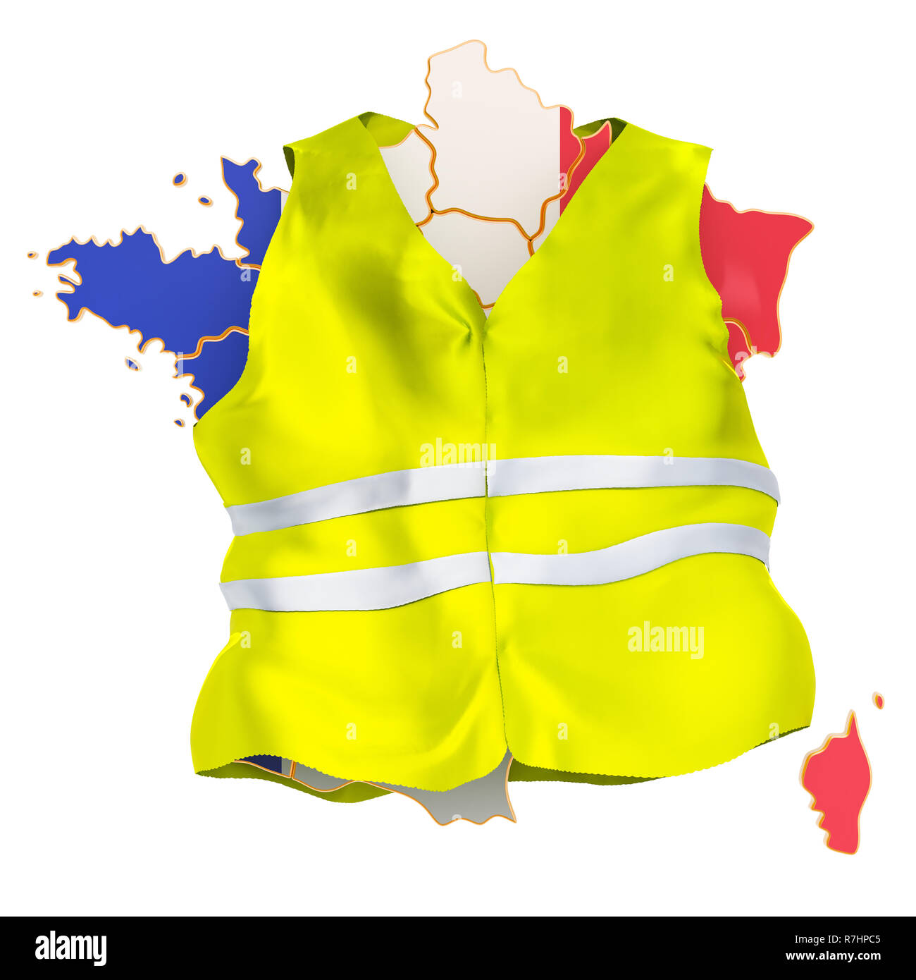 French protests concept. Yellow vests movement, 3D rendering isolated on white background - Stock Image