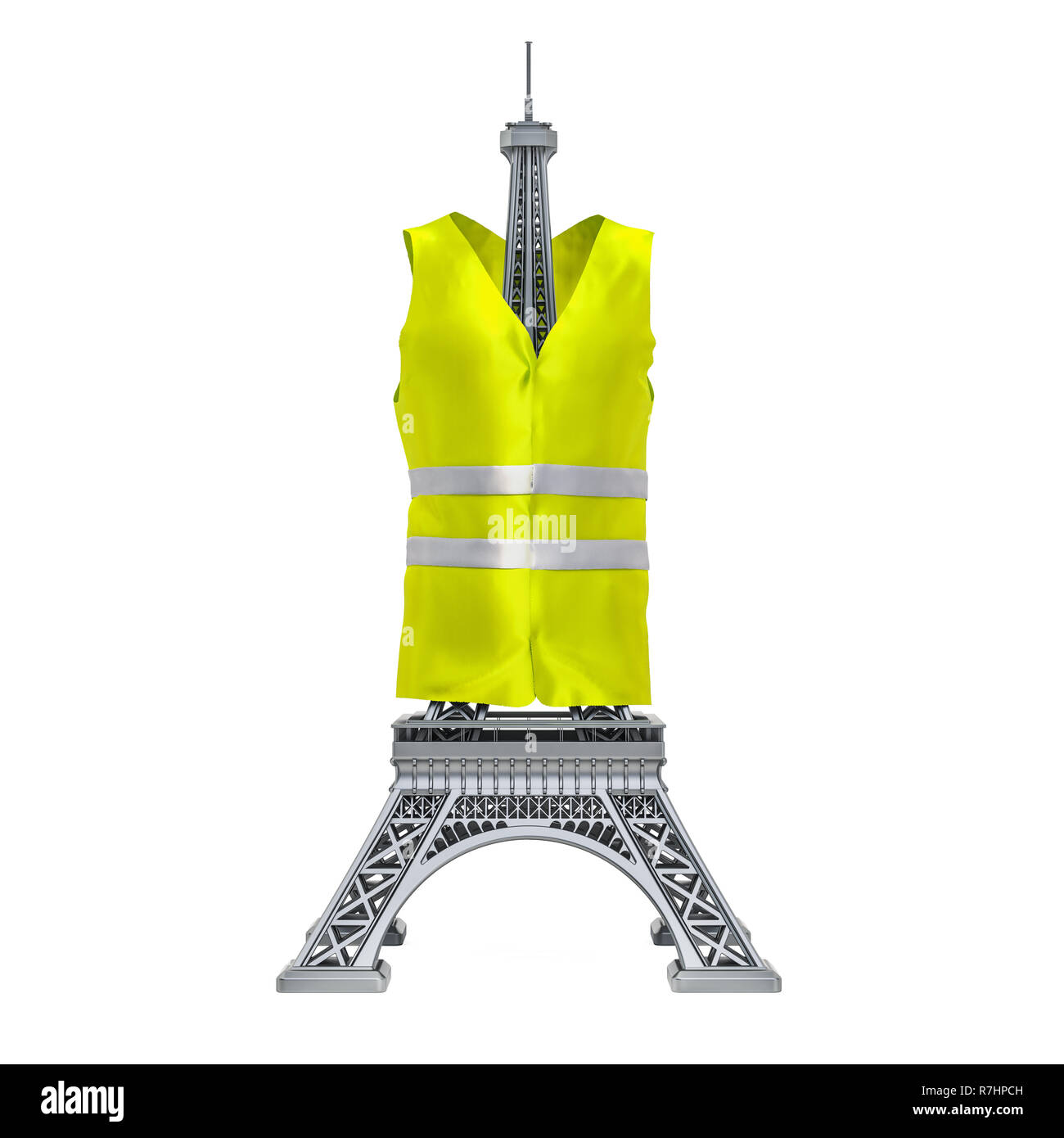 Yellow vests movement, French protests concept. 3D rendering - Stock Image