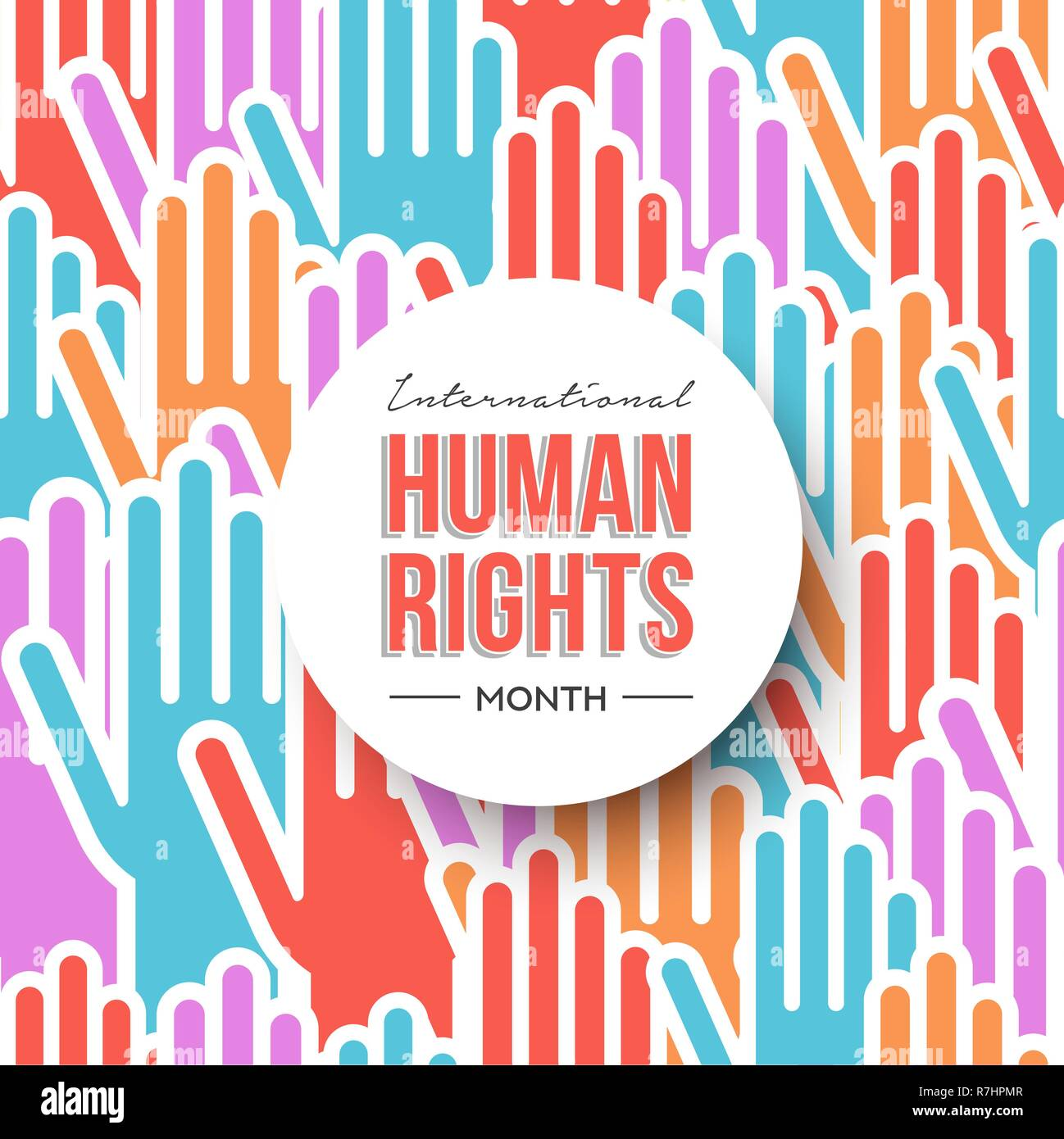 c5024cd17e21 International Human Rights month illustration for global equality and peace  with colorful people hands