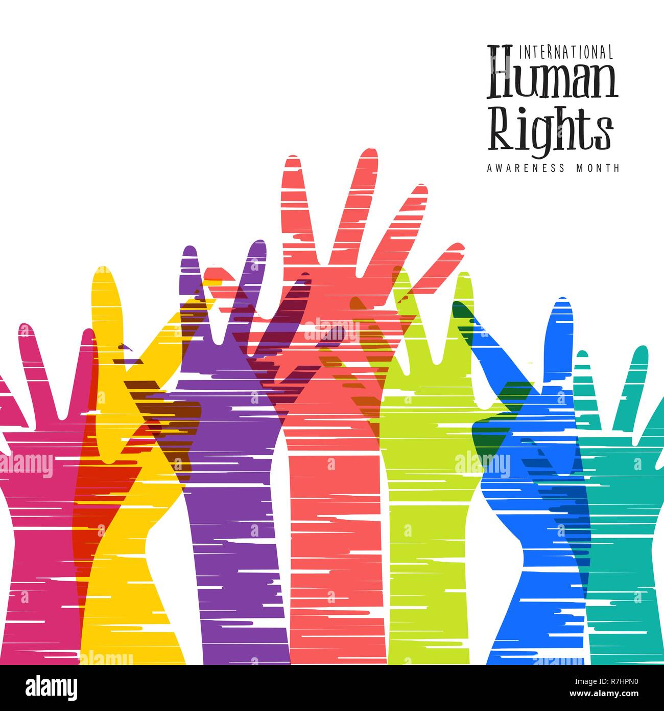 5bc9631f580d International Human Rights awareness month illustration for global equality  and peace with colorful people hands