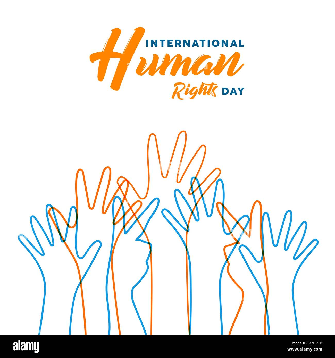 88e9b4402005 International Human Rights awareness day illustration for global equality  and peace with colorful people hands